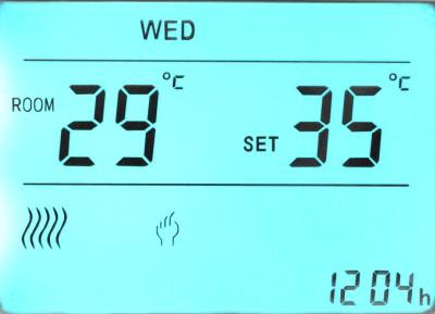 Detail displeje termostatu
